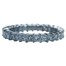 Princess Diamond 18K White Gold Full Eternity Ring Band 1.41ct Size 5.5