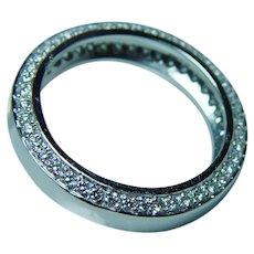 Vintage 18K White Gold Diamond Eternity Ring Band Estate Size 6.5