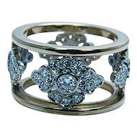 18K White Yellow Gold Diamond Eternity Ring Band Size 5.25 Estate