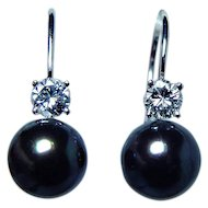 Vintage 18K White Gold Diamond Genuine Cultured Black Pearl Earrings Estate