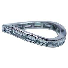 Platinum Baguette Diamond Eternity Wave Ring 1.9ct VS-G Size 7 Estate