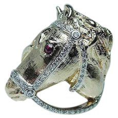 Vintage Diamond Horse Equestrian Mens Ring 14K Gold Fine Detail Heavy Estate