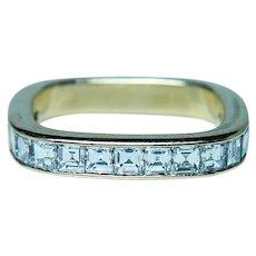 Gubelin Asscher Diamond Anniversary Ring Band 18K Gold Designer