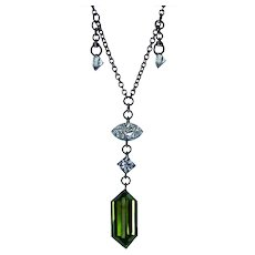Platinum Diamond Necklace Floating Dangle Green Fancy Marquise 1.47ct