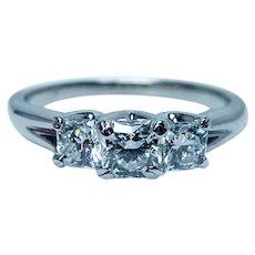 Hearts on Fire 18K White Gold Dream cut Diamond 3 stone Anniversary Engagement Ring