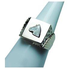 Vintage Fancy cut Diamond Horse 18K Gold Mens Ring Heavy Estate