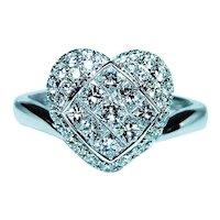 Vintage Heart Princess Pave Diamond 18K White Gold Ring