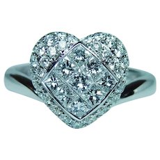 Heart Princess Pave Diamond 18K White Gold Ring