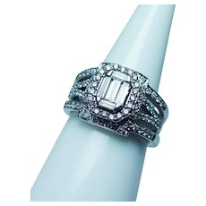 Diamond Halo Baguette 14K White Gold Ring Heavy 1.25ct VS-GH