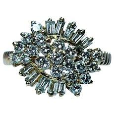 Vintage 18K Gold Baguette Round Diamond Ring Estate