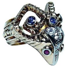 Lalaounis Ram Head 18K Gold Platinum Diamond Ruby Sapphire Ring Heavy Aries