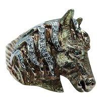 Vintage Diamond Horse Equestrian Ring 14K Gold Fine Heavy Estate Pinky Mens