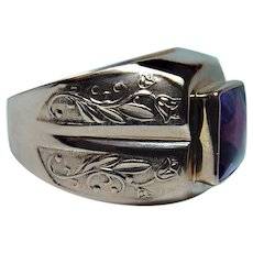 ART Nouveau Russian Synthetic Sapphire Mens Ring 14K Rose Gold Size 10.75