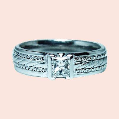 Platinum Princess Diamond Mens Wedding Ring Band Size 11.25 Designer Novell Heavy