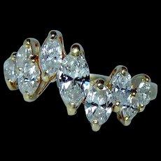 Vintage 1.2ct Marquise Diamond Ring 18K Gold Designer Signed Estate