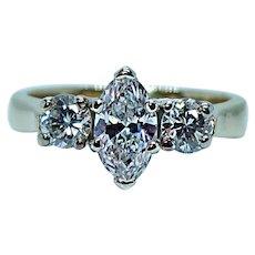 Marquise Diamond 3 stone Ring .65ct center Vintage Estate