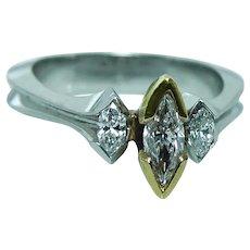 Marquise Diamond Platinum 3 stone Ring 1/2ct center VS-GH Heavy