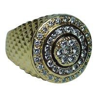 Diamond Mens Ring Heavy 14K Gold Size 11.5