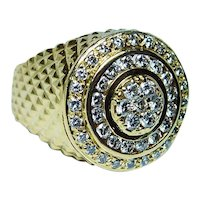 Vintage Diamond Mens Ring Heavy 14K Gold Size 11.5