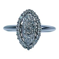 Vintage Marquise Diamond Halo Engagement Pave Ring 14K White Gold Estate
