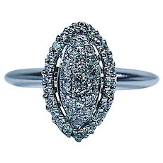 Vintage Marquise Diamond Halo Engagement Pave Ring 14K White Gold Estate