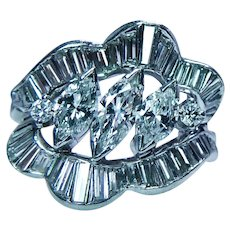 Vintage Marquise Baguette Diamond Ring Platinum Heavy Estate VS/FG GIA Appraisal