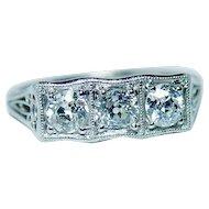 ART DECO Platinum Old European Diamond 3 stone Ring Vintage Estate