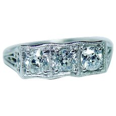 ART DECO Platinum Old European Diamond 3 stone Ring Vintage Estate