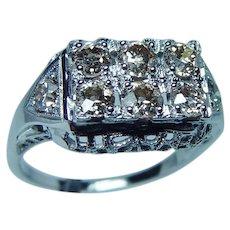 Art Deco 18K White Gold Old European Champagne Diamond Ring Estate