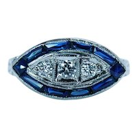 Art Deco European Diamond French Sapphire Etched Ring 18K White Gold