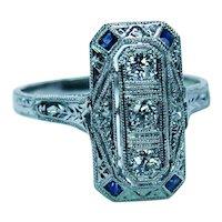 Art Deco European Diamond French Sapphire Etched Ring Platinum