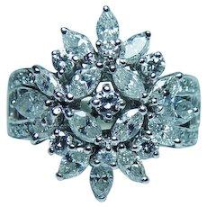 Vintage 18K White Gold Marquise Diamond Ring Estate 1.60ct