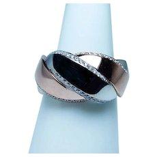 18K Rose Pink White Gold Diamond Ring Band Heavy