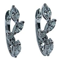 Vintage Marquise Diamond 18K White Gold Earrings Designer