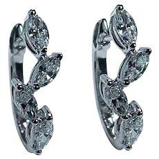 Vintage Marquise Diamond 18K White Gold Earrings Designer