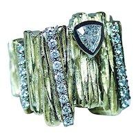 Massive Trillion Diamond Ring 18K Gold Modernist Designer 19gr Heavy Vintage