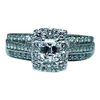 Vintage Emerald Cut Diamond Halo Engagement Ring 14K White Gold