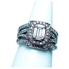 Diamond Halo Baguette 14K White Gold Ring Heavy 1.25ct VS-GH Illusion style