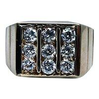 Vintage 14K Gold Diamond Mens Ring Heavy Estate Size 7.5 Pinky VS-GH 9 stone