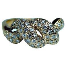 Vintage 18K Gold Pave Diamond Ring Estate Dainty