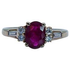 Vintage 14K Gold Ruby Baguette Diamond Ring Clyde Duneier