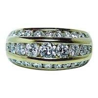 Vintage 1.70ct VS-GH Diamond Ring Band 18K Gold Heavy Estate