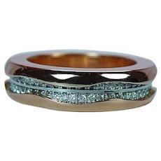 Designer 18K Pink Gold 1.5ct Diamond Eternity Ring Band Heavy Estate Sz 6.5
