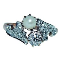 Imperial Russian European Diamond Pearl Ring 14K Gold Hallmarks