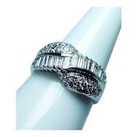 Vintage 18K White Gold Baguette  Diamond Ring