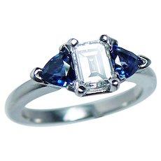 Vintage Platinum Diamond Sapphire 3 stone Engagement Ring  Estate