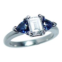 Platinum Emerald cut Diamond Sapphire 3 stone Engagement Ring .69ct