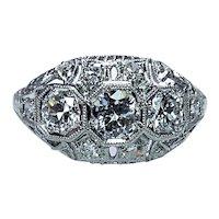 Edwardian Platinum Old European Diamond 3 stone Ring VVS-FG