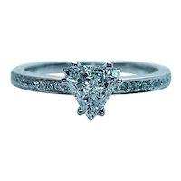 Designer Natalie K Diamond Trillion Trilliant Ring 14K White Gold