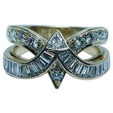 Designer Les Mag French Trillion Baguette Diamond Ring 18K Gold 2ct Estate Vintage